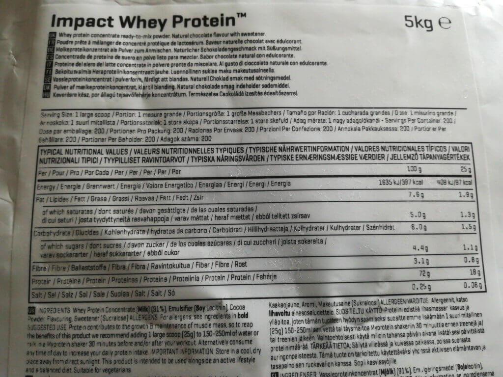 マイプロテイン ナチュラルチョコレート 含有量